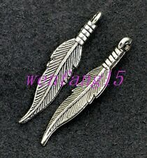 Charms pendant Tibetan silver Small feathers fit diy bracelet necklace 15-300pcs