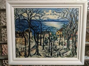 Vintage Early Abstract Impressionist Oil/ Board European Winter Village painting