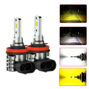 Dual Color H11 H8 LED Fog Light Bulb 6000K White/Amber Yellow Driving DRL Lamp
