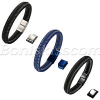 Men's Rock Braided Leather Stainless Steel Magnet Clasp Bracelet Rope Wristband