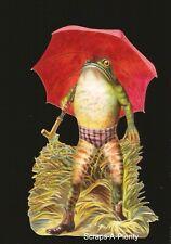 German Embossed Scrap Die Cut - Large Fancy Frog & Red Umbrella   BK5120