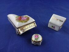 LIMOGES FRANCE Miniature Porcelain PIANO & STOOL and BIRDHOUSE