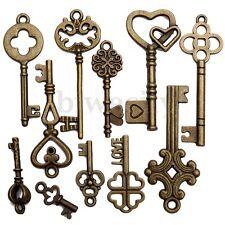 11Pcs Antique Vintage Old Look Bronze Skeleton Keys Fancy Heart Bow Pendant