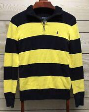 Ralph Lauren Boys 1/4 Zipped Pullover Striped Knit Sweater Sz L 14 16