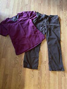 Carhartt  Womens L LARGE Brown pants n Burgundy Scrub Shirt Nursing Uniform Top