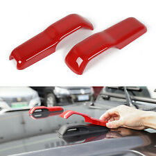 2pcs Hood Hinge Cover Decoration Stickers Trim for Jeep Wrangler JL JT 18+ Red
