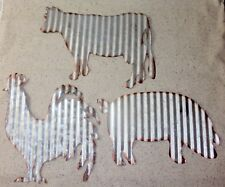 NEW~Set of 3 Corrugated Tin Wall Hanging Farmhouse Decor~Rooster, Cow, Pig.