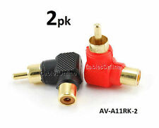 2-PACK Red/Black RCA Male Plug to RCA Female Right Angle Adapter,  AV-A11RK