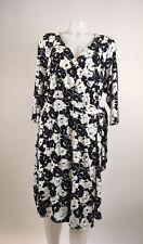 Lane Bryant Plus Size 14/16 Black White Floral Print Wrap Dress 3/4 Sleeves