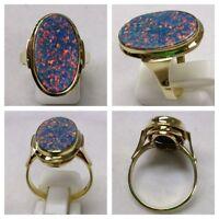 Ring 585er Gold Goldring mit Opal Opaltriplette Triplette Opalring Goldschmuck