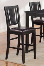 Set of 4 Buckland kitchen counter height chairs with faux leather seat in black