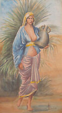 ANTIQUE ARAB MIDDLE EAST PAINTING PREGNANT ? WOMAN