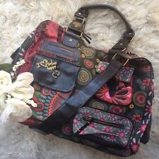 "Desigual ""I Love to Be Happy"" Red Black Messenger Bag"