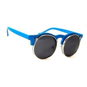 NWT Retro Flip Up Round Sunglasses Classic Berry Steam-punk Vintage Frame