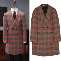 Men's Wool Houndstooth Outwear Trench Jacket Double-breasted Shawl Lapel Suit