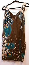 ED HARDY Womens S KOI FISH WATER POND TUNIC TANK TOP DRESS KNIT LACES BROWN AQUA