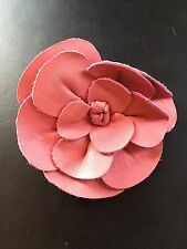 """Leather Rose bow Hot Pink Craft sew fabric flower bow Rose bud ribbon BIG 3.5"""""""