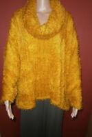AKH Fashion: weiter kuschelweicher Plüsch Pullover Rollkragen senf EG  44 - 60