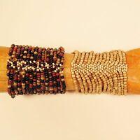 Set of 2 Brown Natural Multi Strand Handmade Cleo Stretch Seed Bead Bracelets
