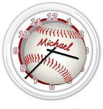Baseball Player SILENT Wall Clock PERSONALIZED Softball Boys Girls Bedroom GIFT