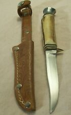 1960's~IDEAL~SOLINGEN~GERMAN STAG~BIRD SIZE HUNTING KNIFE w/ORIG. LEATHER SHEATH