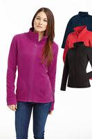 Womens Ladies BLACK RED BLUE Breathable Lightweight Full Zip Micro Fleece Jacket