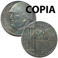 COPIA moneta collezione 20 Lire Italia 1943 Fascismo Mussolini LEONE littorio