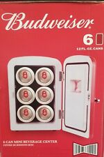 Red Portable 6 can Mini Fridge,Budweiser, Refrigerator,party, Cold Beer Drinks