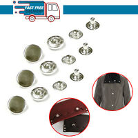17mm Silver S Spring Press Studs Snap Fasteners 4 Part Set Button DIY Craft X 10