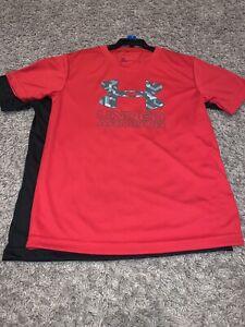 NWT Youth Boys Size 7 Under Armour Red / Black Short Sleeve Logo Shirt Set Of 2