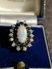 3CT Oval Round Cut Opal 14k Yellow Gold Over Halo Sapphire Cluster Promise Ring