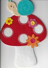 Papyrus  Mother's Day card - Felt Mushroom with Snail Buttons Embroidery LOVE
