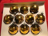 "Vintage Dark Gold Shiny-Brite Glass Christmas Tree Ornaments 2.25"" Bulbs"