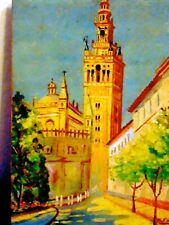 MARCELO FUENTES;VINTAGE ORIGINAL OIL;S;SPANISH;CHURCH;SPAIN;CITYSCAPE;LISTED-NR