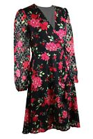 Black Pink Dobby Spot Floral print Long Sleeve Wrap Dress Skater