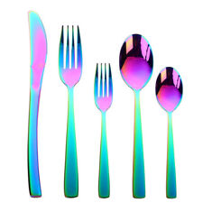 5x Stainless Steel Flatware Set Cutlery Upscale Fork Dessert Spoon Rainbow Color