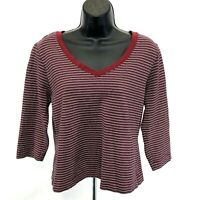Mossimo Stretch Cropped Tee T Shirt V Neck Sz XL Striped 3/4 Sleeve Red Pink