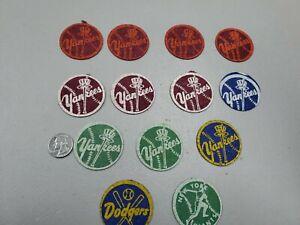 "Lot of (13) 1950s Baseball Felt 2"" Patches Yankees, Dodgers, & Giants"