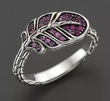 NWT John Hardy Classic Chain Silver Feather Ring Pink Sapphire Sz 6 $495.00