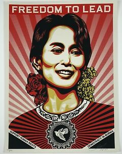 AUNG SAN SUU KYI - FREEDOM TO LEAD 09 PRINT- SHEPARD FAIREY OBEY - SIGNED / #450