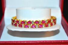 CERTIFIED NATURAL 10.35CTS VS F G DIAMOND RUBY 18K SOLID GOLD BANGLE BRACELET █