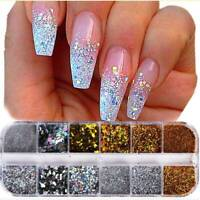 12 Mixed Color Round Nail Glitter Flakes 3D Sequins Powder Nail Art Decorations