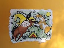 Rock Art Mustang/Wild Ponies Original Watercolor Pat Wiles Horse Horses