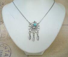 Native American Inspire DREAMCATCHER Charm Pendant Necklace Boho Hippy Turquoise