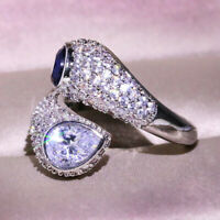 Unique Geometric Sapphire CZ Wedding Ring 925 Silver Engagement Party Jewelry