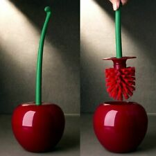 Cherry Shaped Toilet Brush Holder Set Bathroom Cleaning Red Green Creat