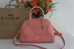 NWT COACH 2558 Katy Satchel In Signature Canvas & Leather Candy Pink $350