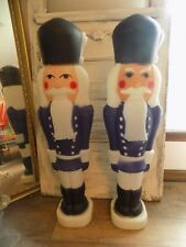 """Set of 2 RARE TPI 38"""" Nutcracker Christmas Blue Toy Soldier Blow Mold Light Up"""