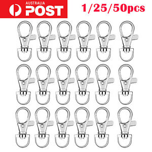 up 50x DlY Swivel Lobster Clasp Clips Hook Alloy Key Ring Split Keychain Durable