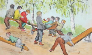 Vintage impressionist gouache painting portrait playing children